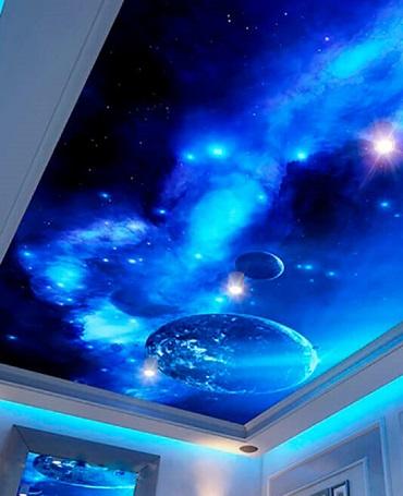 3д потолок космос
