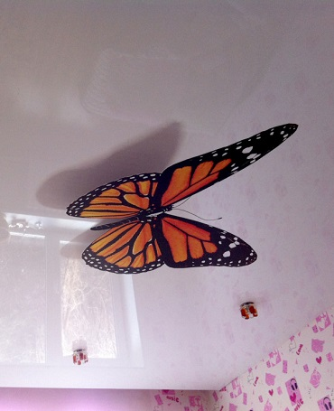 3d потолок бабочка